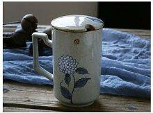 LOYWT Retro Becher Tasse mit Deckel, Löffel,