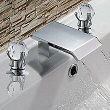 lozse Armaturen für Waschbecken - Zeitgenössisch - Wasserfall - Edelstahl ( Chrom )