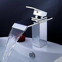 lozse Chrom einzigen Handgriff Wasserfall Bad Waschtisch Waschbecken Wasserhahn mit extra großen rechteckigen Auslauf