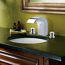 lozse Chrome Finish Contemporary Style Widespread Stainless Steel Badarmaturen