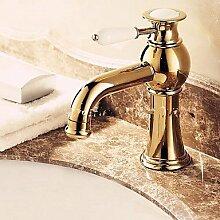 lozse Luxus im europäischen Stil goldenen Schuss ein Loch einer Keramikgriff Waschbecken Wasserhahn