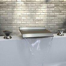 Lozse Nickel gebürstet drei Löchern zwei Griffen Wasserfall verbreitet Waschbecken Wasserhahn