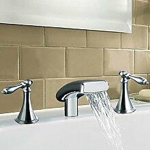 Lozse Solid Brass Zweigriff Wasserfall Waschbecken Wasserhahn-Chrom-Finish