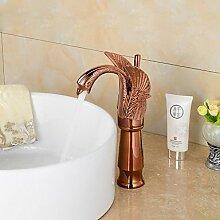 Lozse zeitgenössische Roségold Schwanform Badezimmer Waschbecken Wasserhahn (groß)
