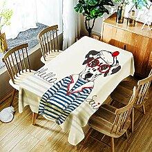 LPLH Cartoon Pirate Dog Tischdecke Kreatives