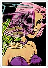 Lplpol 3 x pinke Haar-Totenkopf-Aufkleber mit Glas