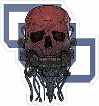 Lplpol Cyber-Totenkopf-Aufkleber für Laptop,