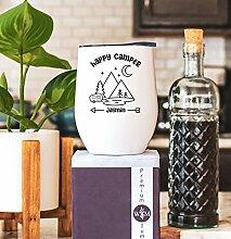 Lplpol Happy Camper Weinglas, personalisierbar –