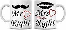 "Lplpol Kaffeebecher-Set mit Aufschrift ""Mr and"