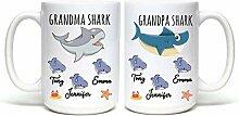 Lplpol Kaffeebecher-Set mit Hai und Opa Hai,
