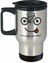 Lplpol Mountain Bike Travel Mug Eat Sleep Ride