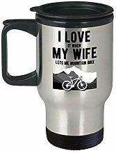 Lplpol Mountain Bike Travel Mug I Love It When My