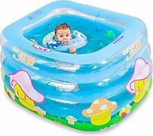 LPYMX Gepolsterte Badewanne Kinder-Anti-Rutsch-Schwimmbecken aufblasbare Klapp-Badewanne, Tragbare Badewanne Blau Gelb Badewanne Badewanne (Farbe : Manually)