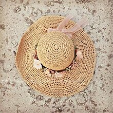 LQABW Big Sunny Hat Sonnenhut Weibliche Sommer Gesponnene Blumen-Bogen-Strohhut Sonnenschutz Strand-Hut,Khaki