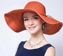 LQABW Damen Modische Sun Beach Hut Mütze Riesen-Sonnenschutz Im Freien Sun Cap,Orange
