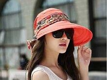 LQABW Frau Sonnenhut Sonnenschutz Anti-UV Female Radfahren Abdeckung Gesicht Falten Leer Top Außen Strand Sonnenhut,Red