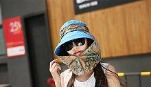 LQABW Frau Sonnenhut Sonnenschutz Anti-UV Female Radfahren Abdeckung Gesicht Falten Leer Top Außen Strand Sonnenhut,Blue