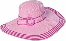 LQABW Frauen-Sommer Sonnenhut Sonnenschutz Faltbare Anti-UV-Dame Groß Entlang Dem Strand-Hut,Pink
