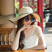LQABW Meer Sonnenhut Sonnenschutz Beiläufige Breitkrempigen Flach Entlang Hut Weaving Damen-Strand-Hut Im Freien Spielraum-Hut,Khaki