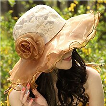 LQABW Sommer-Damen Sonnenhut Sonnenschutz Strand Strohhut Fashion Cap,Brown