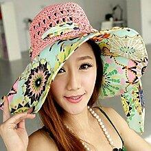 LQABW Sommer Sonnenhut Hauben Sonnenschutz-Hut-Strand-Hut Eaves Strohhut Kann Gefaltet Weiblich,Pink