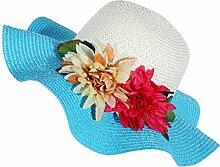 LQABW Sommer-Sonnenschutz-Hut Modische Folding Strand-Hut Big Eave Blume Strohhut,Blue