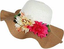 LQABW Sommer-Sonnenschutz-Hut Modische Folding Strand-Hut Big Eave Blume Strohhut,Brown