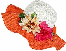 LQABW Sommer-Sonnenschutz-Hut Modische Folding Strand-Hut Big Eave Blume Strohhut,Orange
