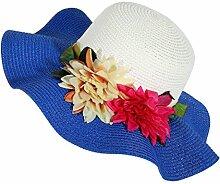 LQABW Sommer-Sonnenschutz-Hut Modische Folding Strand-Hut Big Eave Blume Strohhut,GemstoneBlue