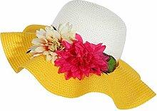 LQABW Sommer-Sonnenschutz-Hut Modische Folding Strand-Hut Big Eave Blume Strohhut,Yellow