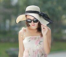 LQABW Sonnenhut Frauen-Sommer-Sonnenschutz Strand Feiertags-Hut Falten Big Cap,Beige