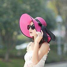 LQABW Sonnenhut Frauen-Sommer-Sonnenschutz Strand Feiertags-Hut Falten Big Cap,Red