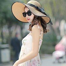 LQABW Sonnenhut Frauen-Sommer-Sonnenschutz Strand Feiertags-Hut Falten Big Cap,Khaki