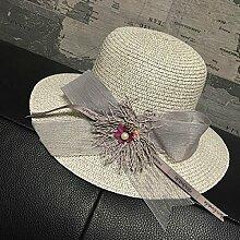 LQABW Straw Hat Große Blume Sonnenhut Fliege Monochrome Mode Wild Beach Cap Sonnenschutz Mädchen Sonnenschutz,Grey