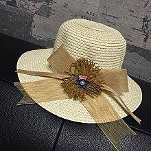 LQABW Straw Hat Große Blume Sonnenhut Fliege Monochrome Mode Wild Beach Cap Sonnenschutz Mädchen Sonnenschutz,Beige