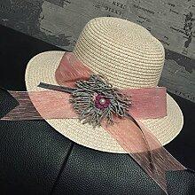 LQABW Straw Hat Große Blume Sonnenhut Fliege Monochrome Mode Wild Beach Cap Sonnenschutz Mädchen Sonnenschutz,Pink