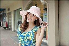 LQABW Weiblicher Sommer Sonnenhut Groß Entlang Sonnenschutz Cap Faltrad-Strand-Hut,Pink