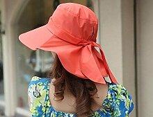 LQABW Weiblicher Sommer Sonnenhut Groß Entlang Sonnenschutz Cap Faltrad-Strand-Hut,Red