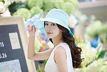LQABW Weiblicher Sommer Sonnenhut Groß Entlang Sonnenschutz Cap Faltrad-Strand-Hut,LightBlue