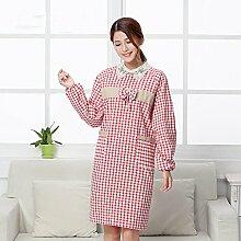 Lqchl Die Küche Kochen Schürze Langärmelige Wasserdicht Und Ölfesten Kleidung Baumwolle Verdickte Heimtextilien Overclothes, Rosa