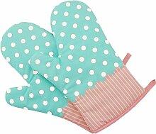 Lqchl Neue Handschuhe 2X Backofen Mikrowelle Grill Backofen Baumwolle Backen Topf Fausthandschuhe Küche Ofenhandschuhe Hitzebeständige Kochen Handschuhe Blau