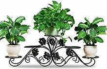 LQCHUAJIA Blumenständer Blumentreppe Blumenregal Bügelfußboden 5-lagiges Blumentopfgestell Europäische einfache Innen-und Außenbereich Pflanzen Bonsai Regale Anzeige Pflanzentreppe ( Farbe : Schwarz , größe : 134cm*45cm )