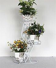 LQCHUAJIA Blumenständer Blumentreppe Bügeleisen Boden Blumentöpfe Regal im europäischen Stil 3-Layer Blume Rack Wohnzimmer Indoor und Outdoor Balkon Pflanze Stand Anzeige Pflanzentreppe ( Farbe : Weiß )