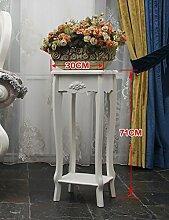 LQCHUAJIA Blumenständer Blumentreppe Europäische Art-Massivholz-hohle einfache mehrschichtige Blumen-Regal-Anlagen-Regale Fußboden-Art Blumen-Zahnstange Balkon-Fußboden-Pflanzer-Regal-europäisches Art-Wohnzimmer-Innenblumen-Feld Anzeige Pflanzentreppe ( größe : F )