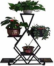 LQCHUAJIA Blumenständer Blumentreppe Europäischer einfacher Eisen-Blumen-Topf-Regal-Betriebs-Standplatz-Wohnzimmer-Balkon-Blumen-Zahnstange Anzeige Pflanzentreppe ( größe : 60*20*120cm )