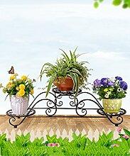 LQCHUAJIA Blumenständer Blumentreppe Europäischer Eisen Blumenständer Mehrstöckiger Balkon Wohnzimmer Blumentopf Rahmen / Indoor Pflanze Regale Anzeige Pflanzentreppe ( Farbe : Schwarz , größe : 86*23*24cm )