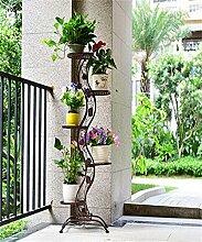 LQCHUAJIA Blumenständer Blumentreppe European-Stil Eisen Blumentopf Regal Blumentopf Rack Wohnzimmer Balkon Mehrgeschossige Blumentopf Halter Anzeige Pflanzentreppe ( Farbe : Messing )