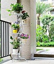 LQCHUAJIA Blumenständer Blumentreppe European-Stil Eisen Blumentopf Regal Blumentopf Rack Wohnzimmer Balkon Mehrgeschossige Blumentopf Halter Anzeige Pflanzentreppe ( Farbe : Weiß )