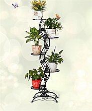 LQCHUAJIA Blumenständer Blumentreppe European-Stil Eisen Blumentopf Regal Blumentopf Rack Wohnzimmer Balkon Mehrgeschossige Blumentopf Halter Anzeige Pflanzentreppe ( Farbe : Schwarz )