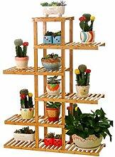 LQCHUAJIA Blumenständer Blumentreppe European - Style Kreative Bambus Blumentopf Regal Multi - Layer Wohnzimmer Balkon Blumentöpfe Rack Anzeige Pflanzentreppe ( größe : 126cm )